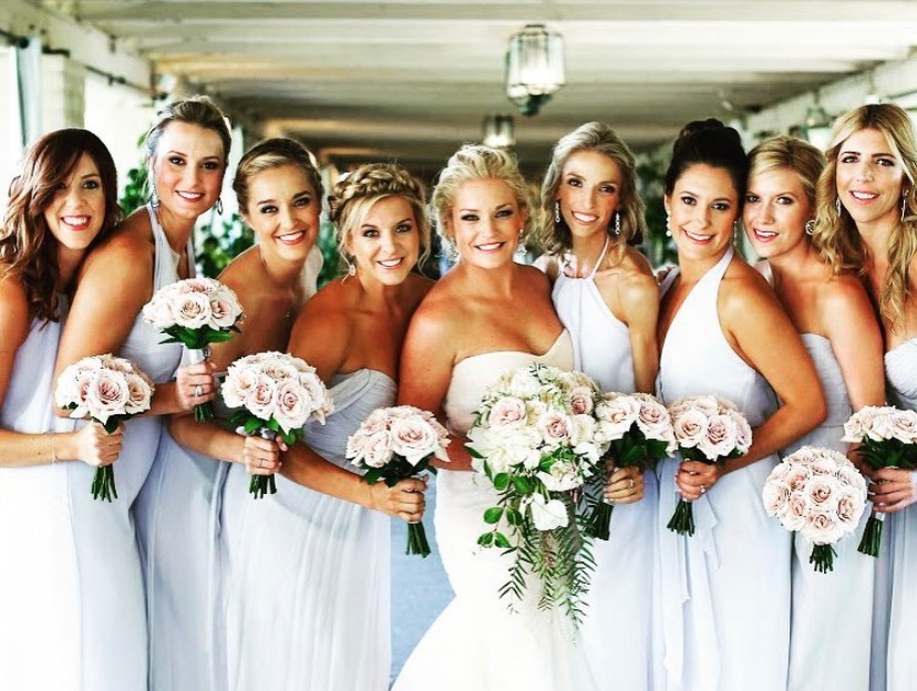 wedding bride and bridesmaids