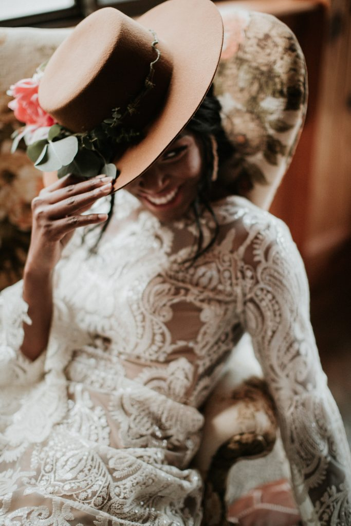 woman wearing Pronovias dress