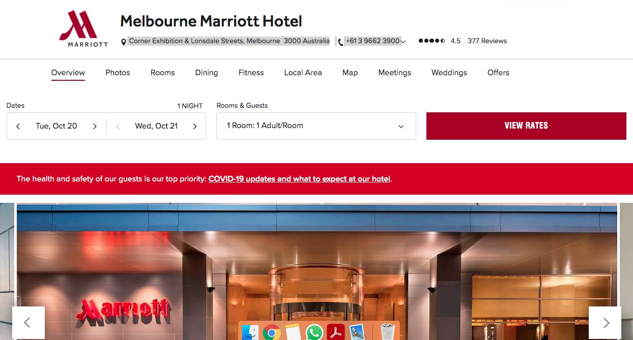 Marriot Hotel Accommodation and Hotel Brighton Melbourne