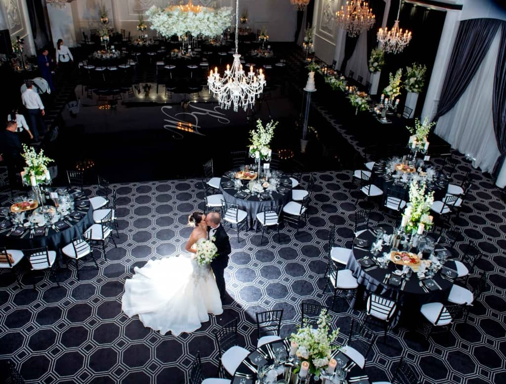 vogue ballroom wedding with black floor