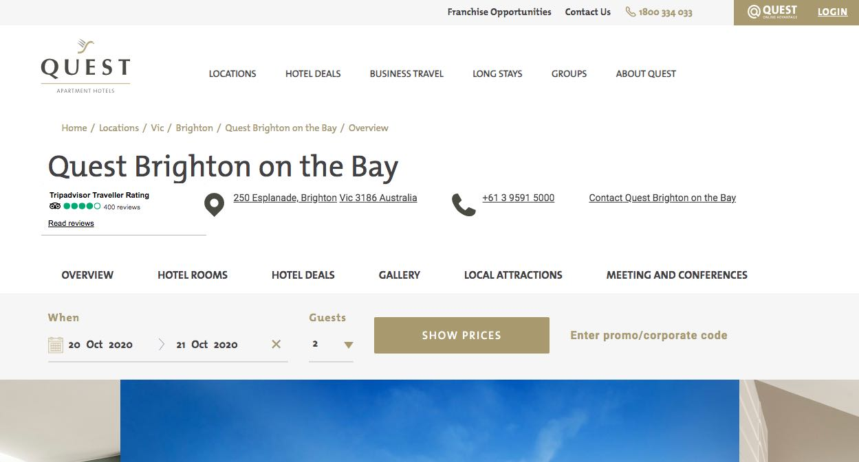 Quest Brighton on the Bay Accommodation and Hotel Burwood Melbourne