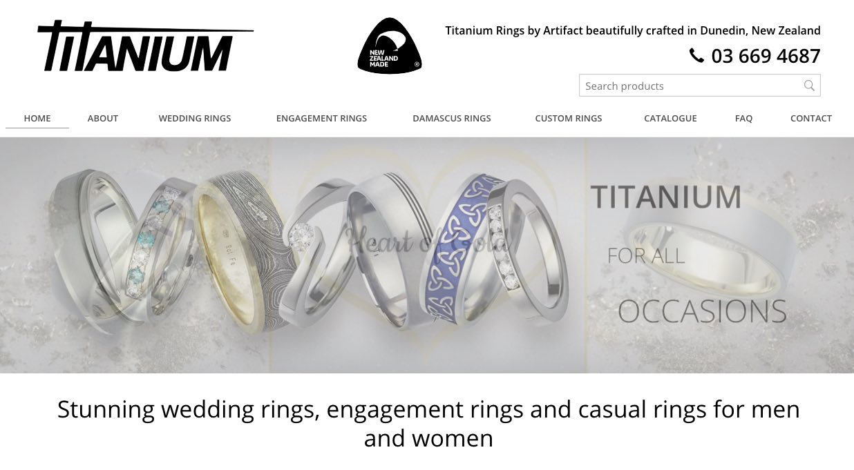 Titanium Rings by Artifact - Wedding and Engagement Rings New Zealand