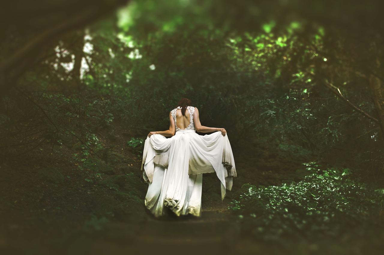 wedding-dress-bride-woods